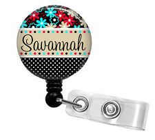 FLOWER & POLKA NAME PERSONALIZED RETRACTABLE ID BADGE HOLDER OR LANYARD