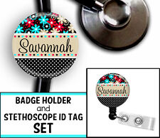 FLOWER & POLKA NAME PERSONALIZED STETHOSCOPE ID TAG & RETRACTABLE BADGE SET