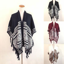 Women's Cardigan Open Front Shawl Poncho Knit Striped Top Sweater Short Sleeves
