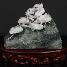Exquisite Chinese natural Dushan jade hand carved Cranes statue
