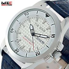 Men's Fashion Stainless Steel Leather Band Dress Sport Quartz Analog Wrist Watch
