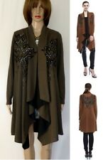 Vocal Tribal Aztec Studs Rust & Olive Cardigan Sweater Top Sexy Bling S M L XL
