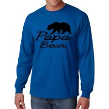 Long Sleeve Papa Bear T Shirt S Cali State Country Father Tee Dad Funny Gift Day