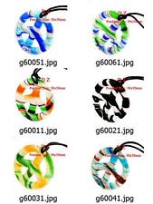 g600m36 Murano Lampwork Glass Peace Sign Bead Pendant Necklace Cord Jewelry