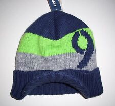 OLD NAVY Boys Hat Size 12 24 months Striped Sweater Knit Brimmed Beanie Blue NEW