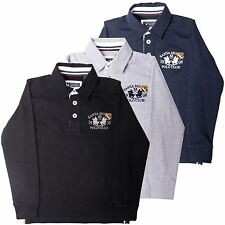 Boys Rugby Polo Shirt Long Sleeved Collared top by Santa Monica Size 4-10 Years