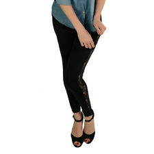 Pippa Lace Side Panel Leggings - Black  Womens Size
