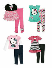 Hello Kitty Toddler Girls Legging Sets 12mo 3T Tunic Shirt Pink Black Mint NWT