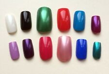 CHOICE OF COLOUR Set of 12 or 24 Hand Painted False Nails SQUARE Full Cover UK