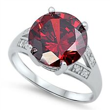 Round Garnet Clear CZ Genuine Sterling Silver Engagement Ring Size 6 7 8 9 10