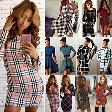 Womens Plaid Check Shirt Dress Casual Long Sleeve Bodycon Dress Sexy Slim Skirts