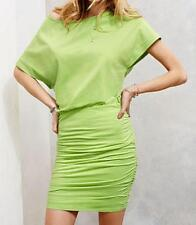 Sz S Victoria's Secret Off Shoulder Teq Lime Ruched Casual Tee Dress NEW $59