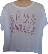 Womens AEROPOSTALE Studded Aero Cropped Graphic T-Shirt NWT #9838