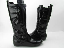 New Nordstrom Patent Black Zip Up Round Toe Buckle Detail Mid Calf Boots