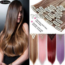 US 8 Pieces Full Head Real Clip on In Hair Extension Cosplay Hair Extension B118