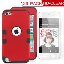 Red Rubber Hard&Soft Armor SKIN CASE+Film for Apple IPOD TOUCH 5/6G 5th GEN 6