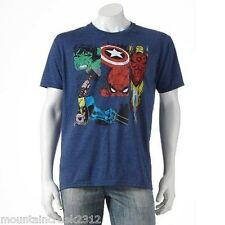 New MARVEL Comics Mens Shirt Size L Distressed Superheroes Short Sleeve Tee Blue