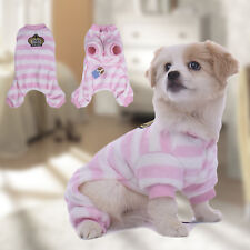 Jacket New Cute Pet Dog Stripe Pajamas Warm Winter Jumpsuits Leisure Wear