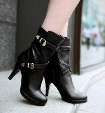 New Women's Low Platform High Heel Shoes Buckle Strap Mid Calf Boots US ALL SZ L