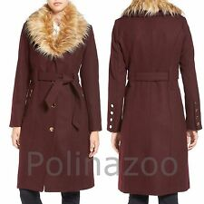 Guess winter wool Trench Coat with Faux Fur Trim belted Beige Burgundy NEW 2017