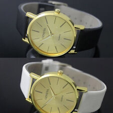 Stainless Steel Leather Women's Casual Analog Quartz Wrist Watch white Black