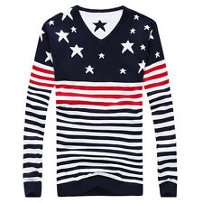 Winter Stylish Mens Slim Fit Pullover Cardigan Splice Knitwear Sweater Clothing
