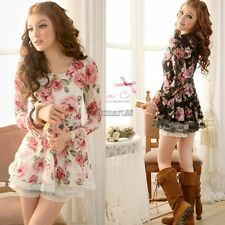 Women Long Sleeve Rose Flower Shirts Blouses Prints Lace Casual Tops OK New