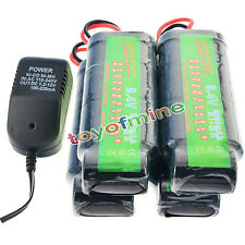 4x 8.4V NiMH 3800mAh Rechargeable Battery Pack Tamiya Plug + Charger