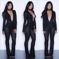 Women Sexy V-neck Bandage See Through Bodycon Jumpsuit&Romper Evening Clubwear