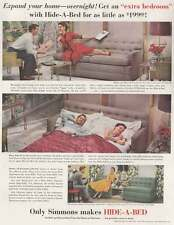 1952 Simmons Hide-a-Bed: Expand Your Home Overnight Print Ad (20617)