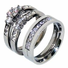 3 PCS Couple Womens Stainless Steel Round CZ Wedding Set /Mens 9 Round CZs Band