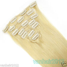 """Premium Clip in Remy Human Hair Extensions 7PCS Full Head Light Blonde 15-22"""""""