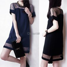 Sexy Womens Mesh Splicing Dresses Short Sleeve Crew Neck Chiffon Dress OK