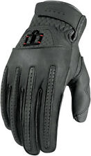 ICON 1000 Rimfire Short Gauntlet Leather Motorcycle Gloves (Gray) Choose Size