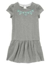 NWT Gymboree Center Stage Green Gem Gray Dress Girls SZ 4 5 6 7 8