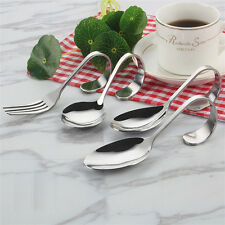 Curved Stainless Steel Fork Curved Handle Fork Spoon Salad Soup Spoon 7322