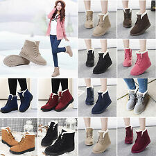 NEW Women Winter Warm Flat Lace Up Fur Lined Martin Boots Snow Ankle Boots Shoes