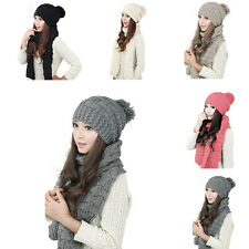 2pcs New winter women's Fashion warm knitted wool Crochet hat scarf caps shawl
