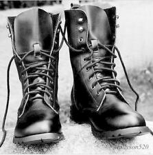Mens casual lace up High Military Combat genuine Leather ankle  Boots US 12.5