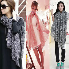 Womens Vintage Long Soft Cotton Voile Printed Scarves Shawl Wrap Beach Scarf