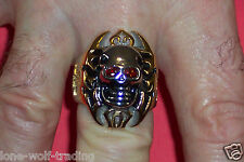 Iron Cross Skull -Men's Ring - Stainless Steel/Two Tone-SR0250-J