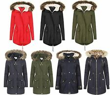 Ladies Hooded Parka Coat  Padded Quilted Jacket Womens Winter New
