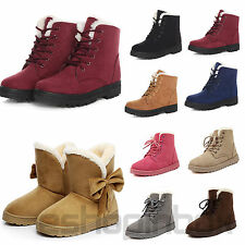 Womens Ankle Snow Boots Winter Warm Casual Faux Suede Bow Shoes Lace-up Flats