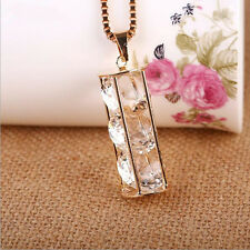 Crystal  New cylinder  Necklace  Hollow  Three zircons Pendant  Long chain