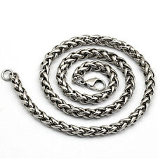 """3/4/5/6MM 18-36""""  MENS Silver Stainless Steel Wheat Braided Chain Necklace Cool"""