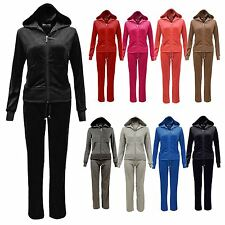 Ladies Velour Full Set Tracksuit Joggers Zip Hoodie Sports Gym Lounge Size 8-22