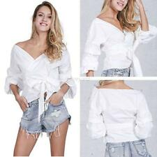 Fashion Women's Sexy V Neck Off Shoulder T-shirt Long Sleeve Casual Blouse Tops