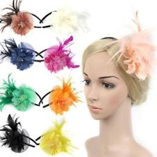 Lady Feather Fascinator Flower Veil Hat Hairband Party Costume