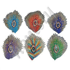 5PCS Peacock Feather Shape Sequin Patches Embroidered Iron On Patch 10.5x7cm New