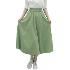 VINTAGE COTTON LINEN SKIRT SOLID COLOR LONG SKIRTS GREEN BLUE PLEATED WOMENS